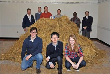 Find a Needle in a Haystack using 3D Imaging Radar – Students and instructors pose with the haystack.